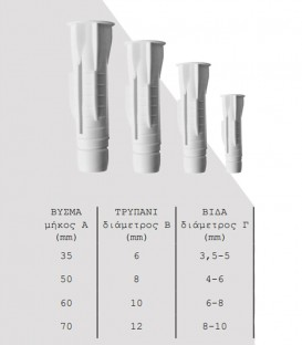 Βύσματα με Ροδέλα No 10mm Λευκά