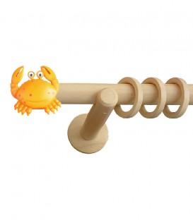 Κουρτινόξυλο Ξύλινο Crab - Φ28