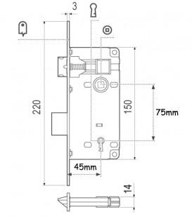Κλειδαριά Μεσόπορτας Νίκελ Οβάλ 75-45mm