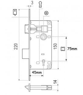 Κλειδαριά Μεσόπορτας Χρυσή Τετράγωνη 75-45mm