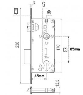 Κλειδαριά Ασφαλείας Χρυσή Τετράγωνη 45mm