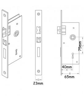 Κλειδαριά Μεσόπορτας Νίκελ Τετράγωνη K40-75mm
