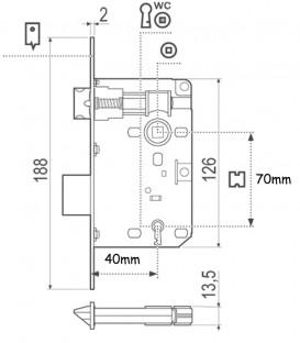 Κλειδαριά Piccolo Χρυσή Οβάλ K40-70mm