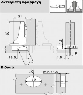 Μεντεσές Κουμπωτός 107° Γόνατο 8mm Blum