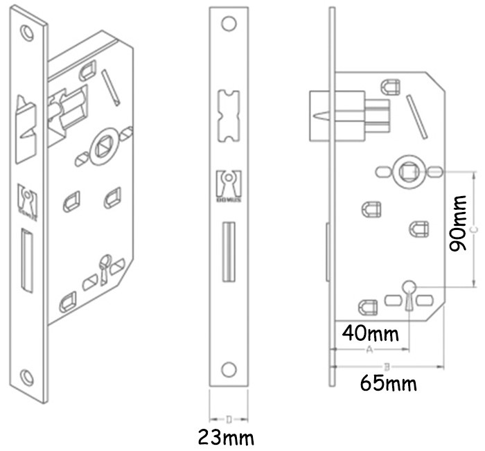 BuyforHome.gr Κλειδαριά Μεσόπορτας Χρυσή K40-90mm Eco Line Domus