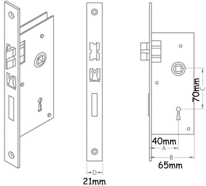 BuyforHome.gr Κλειδαριά Piccolo Τετράγωνη K40-70mm Domus