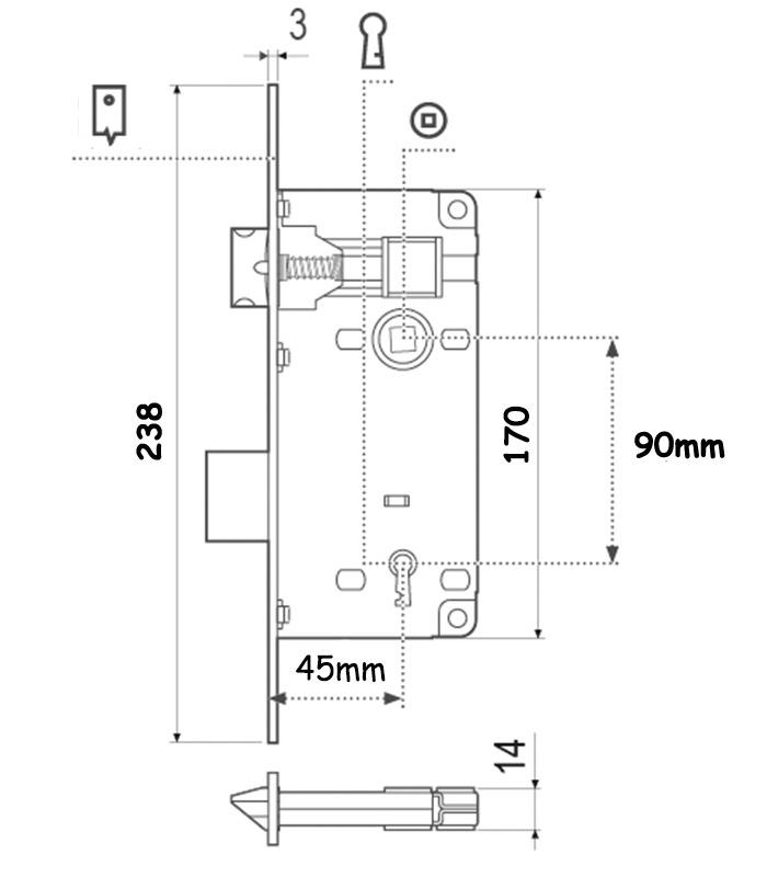 BuyforHome.gr Κλειδαριά Μεσόπορτας Χρυσή Τετράγωνη K45-75mm AGB
