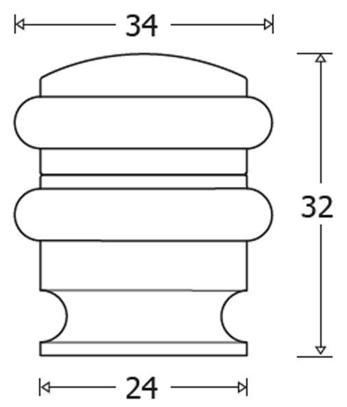 BuyforHome.gr Βιδωτό Στοπ Δαπέδου Αλουμινίου με Δύο Λάστιχα No 061-AL02. Χρώμα: Αλουμίνιο, Ανοδ. Νίκελ, Μαύρο. Διαστάσεις: Ø34mmX32mmX24mm. Metalor