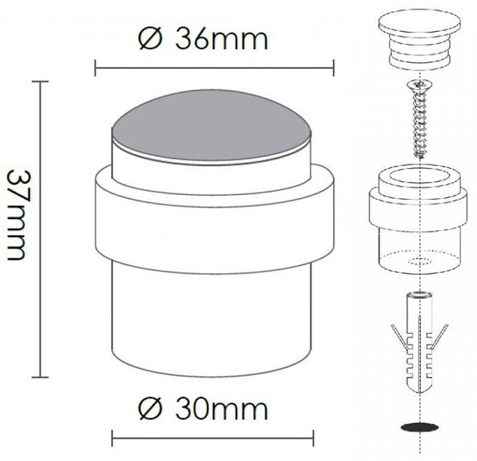 BuyforHome.gr Μεταλλικό Βιδωτό Στοπ Πόρτας κύλινδρος για επιδαπέδια ή επιτοίχια τοποθέτηση με Λάστιχα καουτσούκ No C1313. Χρώμα: Ανοξ. Νίκελ, Επίχρυσο, Μαύρο, Αλουμίνιο. Διαστάσεις: Ø36mmX37mmXØ30mm